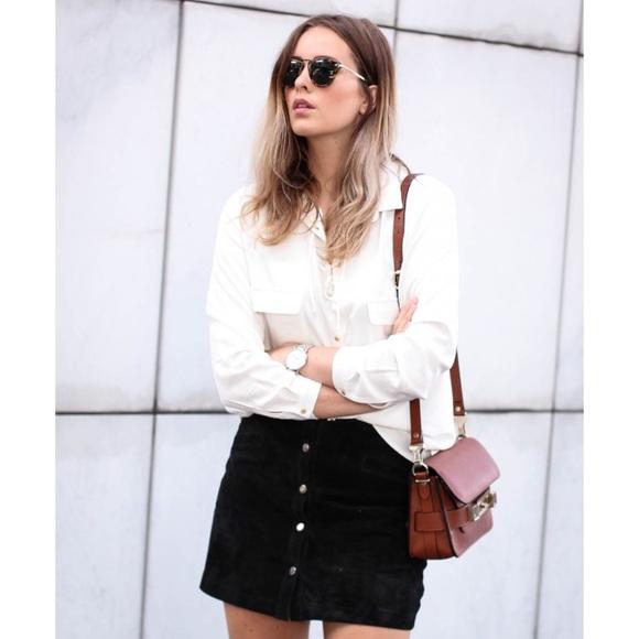 2ba2b00574bd Zara Skirts | Faux Leather Black Button Up Mini Skirt | Poshmark